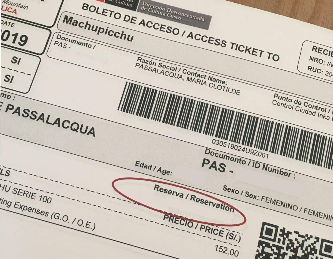 machu picchu ticket