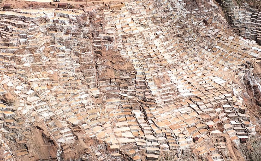this is the Maras salt mines view from the entrance at the top