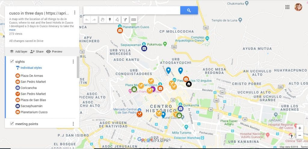 cusco 3 days itinerary map
