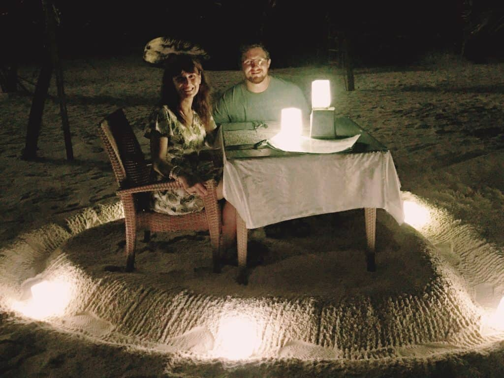 Candle lit dinner on the beach at the Arena restaurant