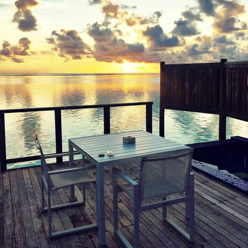 CONRAD MALDIVES: the overwater villa sunset view from the overwater villa is lovely but the beach villa is much safer for younger kids